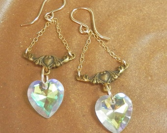 Swarovski Crystal Auroraborealis Heart and Gold Filled Victorian Earrings