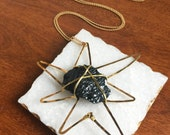 Meteorite Necklace // Starburst Necklace, Black Tourmaline Necklace, Star Necklace, Astral Necklace, Constellation Necklace, SciFi Necklace