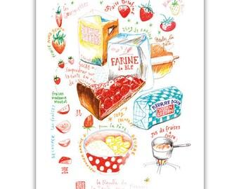 Strawberry pie recipe poster, Bakery illustration, Cake print, Strawberry tart, Hostess gift, Food artwork, Kitchen decor, French dessert