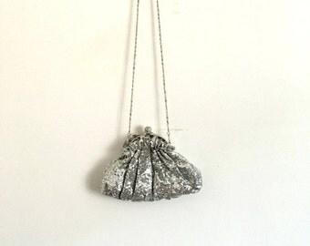 Vintage 80s Silver Sequins Handbag Shoulder Strap