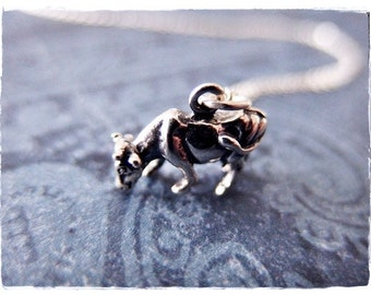 Silver Cow Necklace - Sterling Silver Cow Charm on a Delicate Sterling Silver Cable Chain or Charm Only