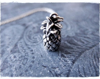 Large Pineapple Necklace - Large Sterling Silver Pineapple Charm on a Delicate Sterling Silver Cable Chain or Charm Only
