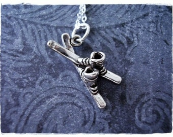 Silver Skis Necklace - Sterling Silver Skis Charm on a Delicate Sterling Silver Cable Chain or Charm Only