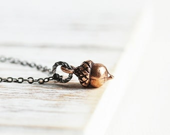 Tiny Acorn Necklace, Small Pendant Necklace, Antiqued Copper Plated Pendant on Gunmetal Chain, Autumn Jewelry, Woodland Jewelry