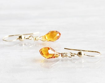 Tiny Topaz Crystal Dangle Earrings on 14K Gold Filled Hooks (Swarovski Elements)