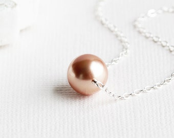 Blush 'Rose Gold' Crystal Pearl Necklace on Sterling Silver Chain, Simple Bridal Jewelry (Swarovski Elements)