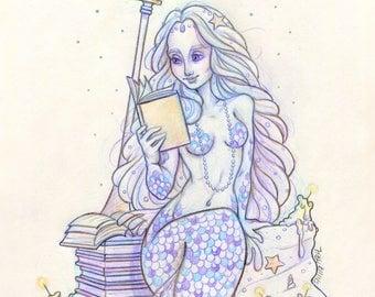 "Mermay#6 ""The Librarian"" - Original Drawing on Moleskine ORIGINAL OOAK Art"