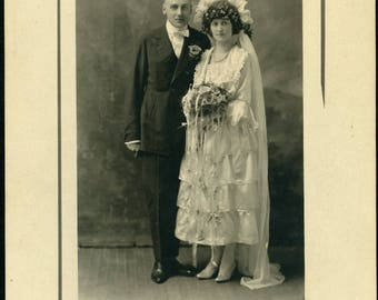 Woman In Fantastic EDWARDIAN WEDDING DRESS Photo Virginia Minnesota circa 1905