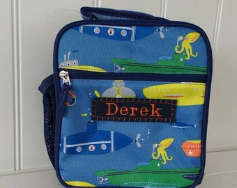 Kids Lunch Box Personalized (Pottery Barn) -- Blue Submarine