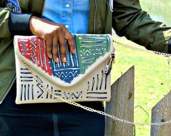 "Tribal Immunity Hand Painted Vegan Leather Beige Lion ""Vital"" 2-in-1 Envelope Clutch Crossbody Handbag"