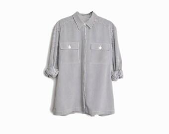 Vintage 90s Striped Boy Shirt in Black & White / Long Sleeve Blouse - women's 8