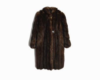 Vintage Espresso Brown Fur Coat / Mid-Length Mink Fur Coat / Winter Wedding Coat by Le Parisien Furs - women's small/medium