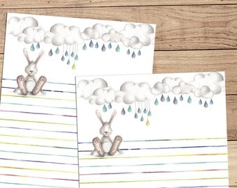 Bunny Blues - A5 Stationery - 12, 24 or 48 sheets
