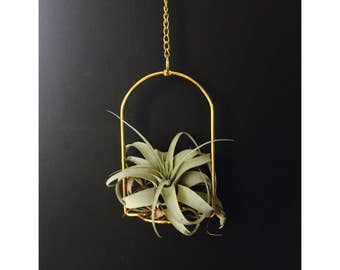 Vintage Brass Wire Plant Hanger / Candle Holder