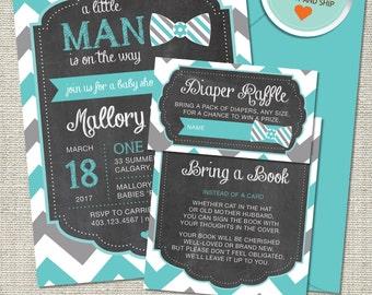 Little Man Baby Shower Invitation, Little Man Invitation, Little Man, Teal, Gray, Chevron   Printed
