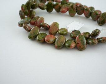 8x12mm Unakite Gemstone Flat Capsule Beads - 15 inch strand - 50 pieces