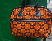 Vintage Briefcase 1970s Floral Laptop Bag Black and Red Psychedelic Purse