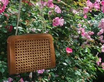 Brown Woven Straw Purse Brown Straw Bag Chain Strap