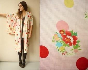 1950s 1960's Antique Silk Japanese Vintage Kimono Robe Duster Jacket