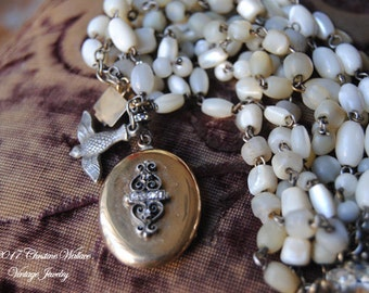 French Keepsake Locket--Antique French Mother of Pearl Rosary Victorian Keepsake BRACELET