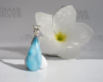 Larimarandsilver pendant, From the Sirens Orchard 3 - sea blue Larimar pear, turtleback, translucent, reversible, handmade Larimar pendant