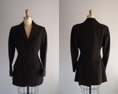 1940s luxe Riding Jacket nipped waist blazer charcoal black wool red plaid lining Miller's NY ... 29 waist