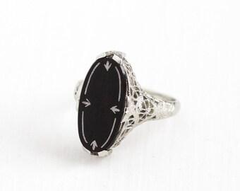 Sale - Antique Art Deco 14K White Gold Onyx White Enamel Ring - Belais Vintage 1920s Size 5 1/2 Filigree Black Gem Statement Fine Jewelry
