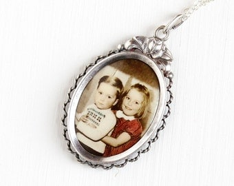 Vintage Art Deco Photographic Pendant Necklace 1930s 1940s WWII Germany Old Stock Silver Plated Historical Celluloid Sibling Picture Jewelry