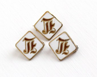 Sale - Antique Gold Washed Sterling Silver Cursive Letter E White Enamel Pin Set Lot - 3 Tiny Vintage Edwardian Small Square Jewelry Brooch