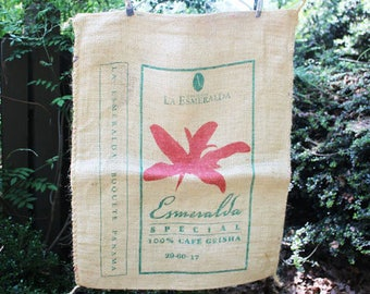 Vintage Burlap Coffee Bag, La Esmeralda, Bouquete, Panama, One sided print, Heavy Weight Jute Woven Coffee bag,