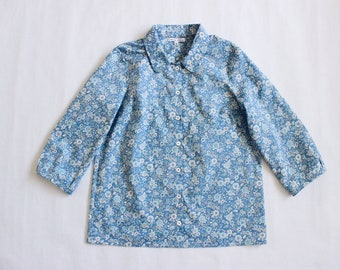 Blue Floral Lawn Button Up Blouse - Made with Japanese cotton lawn fabric
