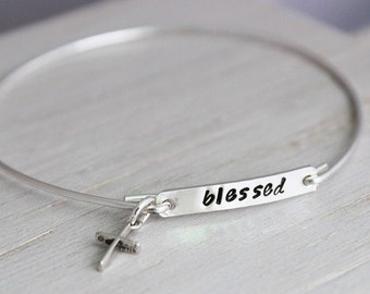blessed silver bracelet, cross stacking bangle,  inspirational faith gift for her, word of the year, slip on bracelet, READY TO SHIP