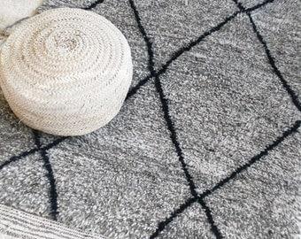 BENI OUARAIN Grey - Vintage Moroccan Wool Rug