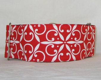 Red Elegance Martingale Dog Collar - 2 Inch - holiday winter white snowflake