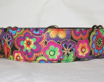 Electric Flowers Martingale Dog Collar - 1.5 or 2 Inch - floral colorful pink blue gold shimmering butterfly butterflies orange green fun