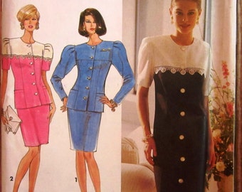 Vintage 1990s Misses One or Two-Piece Dress, Princess Seamed Sizes 12 14 16 Simplicity Pattern 7669 UNCUT