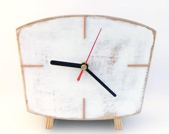 White clock Desk, SILENT Wood Table Clock, Vintage Style NO TICKING Handmade clock, Home decor Wooden gift, Spring white decor, gift for Mom