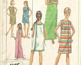 1960s Wrap Dress Sleeveless Easy to Sew Simplicity 7572 Size Medium 12 - 14 Bust 34-36 Women's Vintage Sewing Pattern