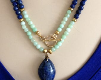 Ashira Lapis Lazuli and Sea Blue Chalcedony