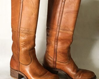 Vintage 1970's Frye Style Campus tall leather riding boots Women's, US Size: 7,5/8 Boho Hippie  70s, Brown Camel Tan