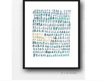 Modern minimalist Abstract watercolor painting, sea glass art, Sea Glass watercolor print, nautical painting gray blue