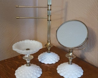 3 Piece Milk Glass Vanity Set - Double Sided Mirror - Towel Bar - Soap Dish - Oak Hill Vintage