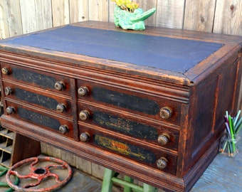 Antique Wooden Thread Spool Cabinet / Cashiers Desk / Victorian Lectern: 6 Drawer Tiger Oak General Store Countertop Organizer & Lift Top