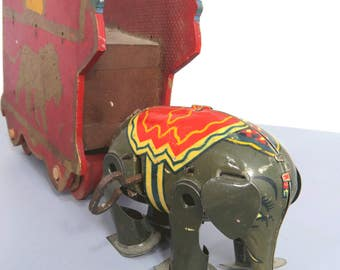 Vintage Tin Elephant Wind-Up Litho Toy, Germany, WORKS, Small Circus Toy