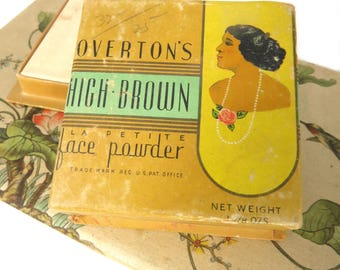Overton's High Brown Face Powder Box PLUS Refill Powder Box, 1940s African American Vanity Collectible
