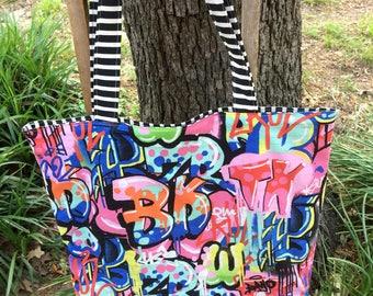 Urban Funk , Graffiti , Reversible Tote, Shopping Bag