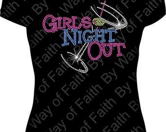 GIRLS NIGHT OUT Bling Rhinestone Tank Top, V-Neck, Crew Neck, Vegas Tees. Girls Trip, Birthday Getaway, Birthday Squad, Custom Tee