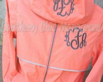Bright Coral raincoat Free Shipping Preppy Charles River Women's New Englander 5099 Monogrammed Rain Jacket Sorority Greek Preppy Plus Size