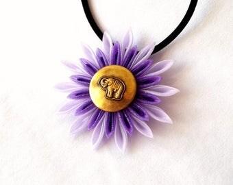 Purple Pendant Kanzashi Flower with Elephant Necklace