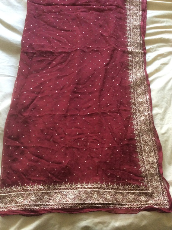 Vintage SILK Shawl/Stole. Regency Style. Burgundy Silk Chiffon, gilt hand embroidery.